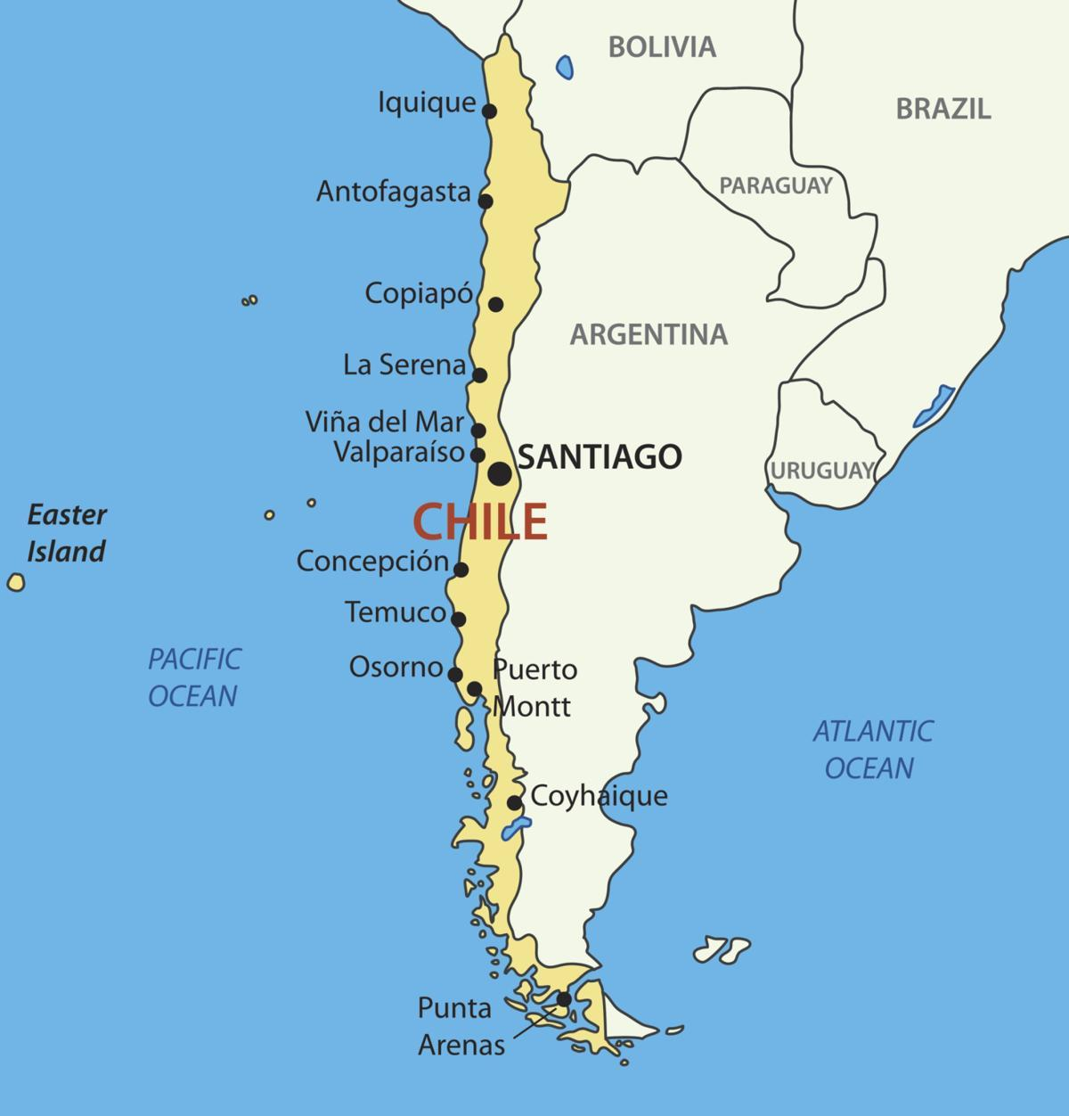 Chile Maa Kartta Kartta Chilen Maan Etela Amerikka Amerikka