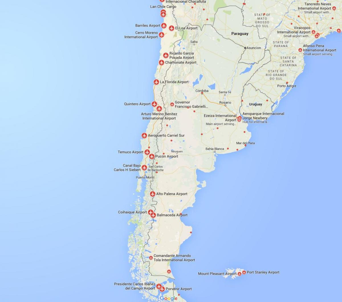 Chile Lentokentat Kartalla Kartta Lentokentat Chilessa Etela