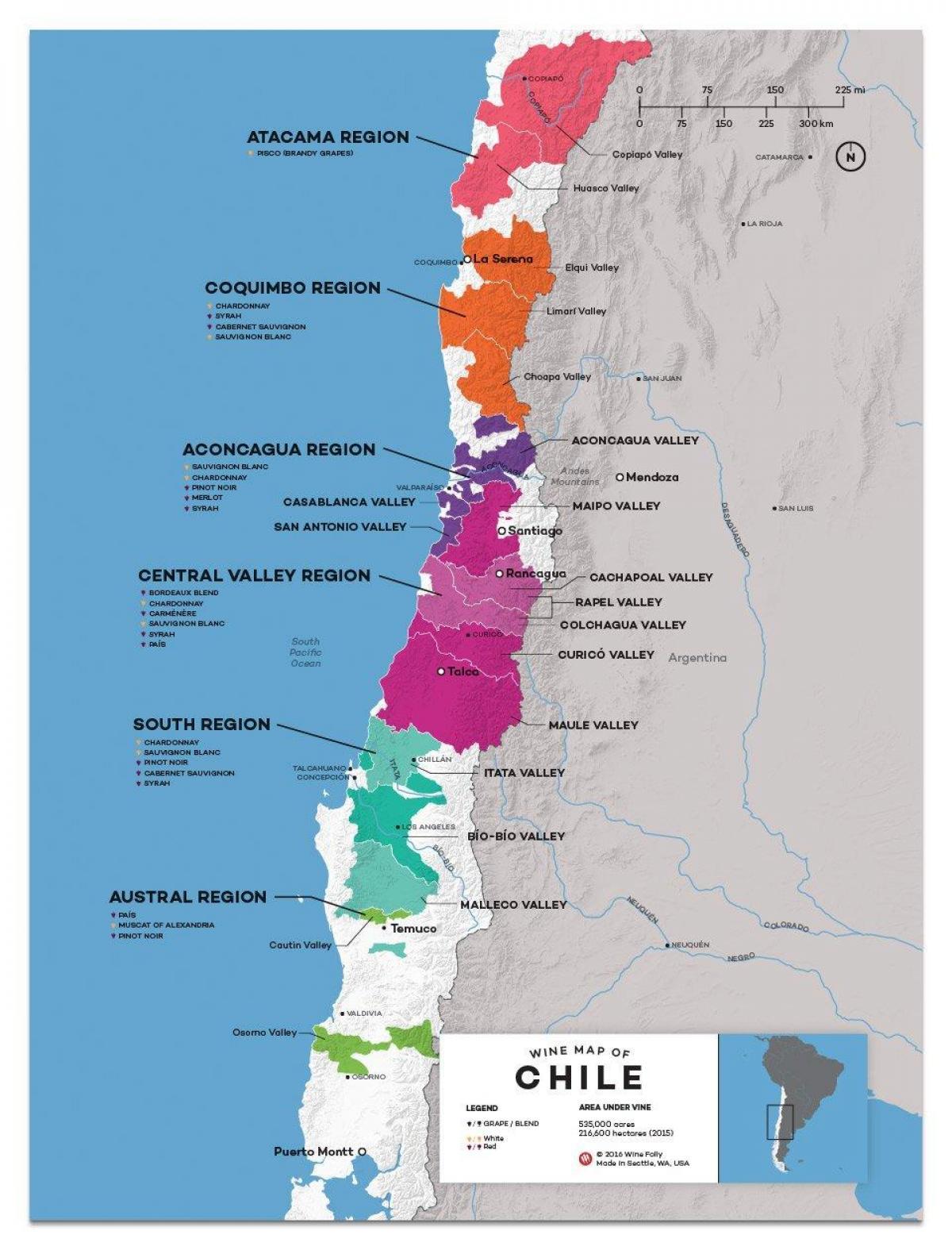 Chilen Viini Kartta Chile Viinin Maan Kartta Etela Amerikka